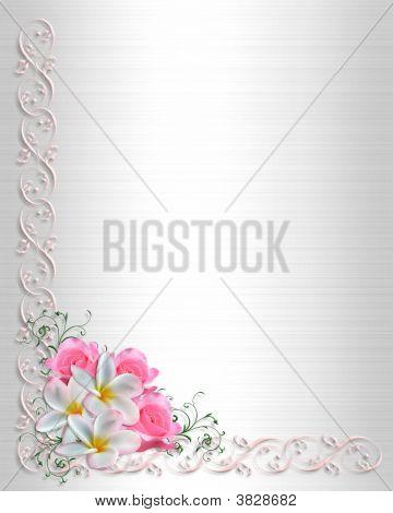 Wedding Invitation White Satin Corner Design
