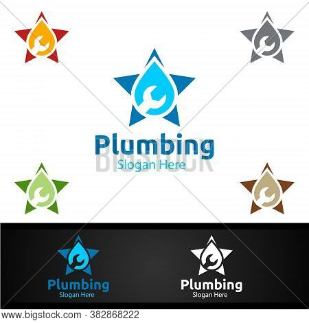 Star Plumbing Logo With Water And Fix Home Concept Design