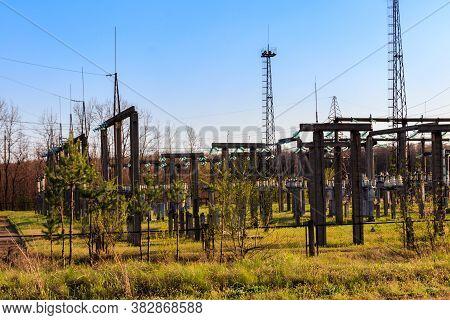 High Voltage Power Transformer Substation. Power Line, Electric Substation