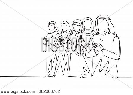 One Continuous Line Drawing Of Young Male And Female Muslim Business Comunity Clapping Hands After P