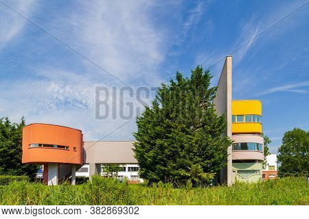 Groningen, Netherlands - August 8, 2020: Colorful Wall House Showcasing International Postmodern Arc