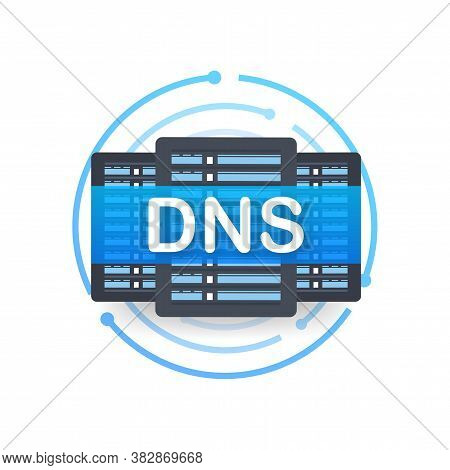 Dns Domain Name System Server. Global Communication Network Concept. Web Search Concept. Vector Illu