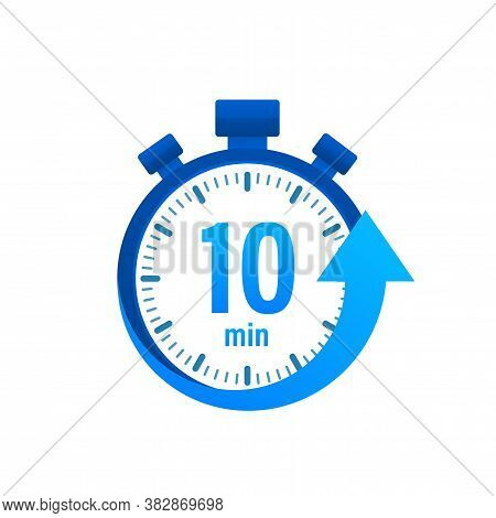 The 10 Minutes, Stopwatch Vector Icon. Stopwatch Icon In Flat Style, Timer On On Color Background. V