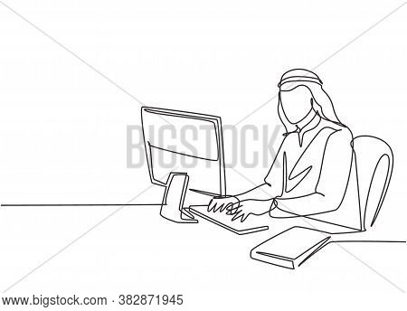 Single Continuous Line Drawing Of Young Male Muslim Worker Typing A Business Documents On Office Com