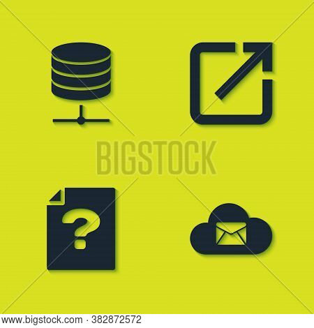 Set Server, Data, Web Hosting, Cloud Mail Server, Unknown Document And Open New Window Icon. Vector