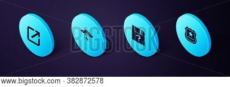 Set Isometric Police Badge, Unknown Document, Ufo Abducts Cow And Open In New Window Icon. Vector