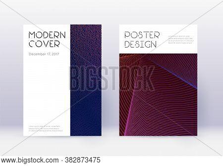 Minimal Cover Design Template Set. Violet Abstract Lines On Dark Background. Decent Cover Design. Va