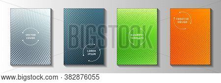 Minimal Point Perforated Halftone Cover Templates Vector Set. Medical Notebook Faded Halftone Backgr