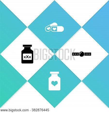 Set Bottle With Pills For Potency, , Pills And Silicone Ball Gag Icon. Vector