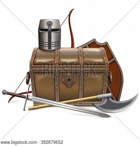 Vector Medieval Chest With Knight Armor Isolated On White Background