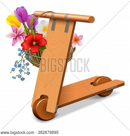 Vector Wooden Kick  Scooter With Flowers Isolated On White Background