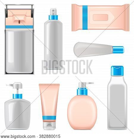 Vector Antiseptic Packaging Icons Isolated On White Background