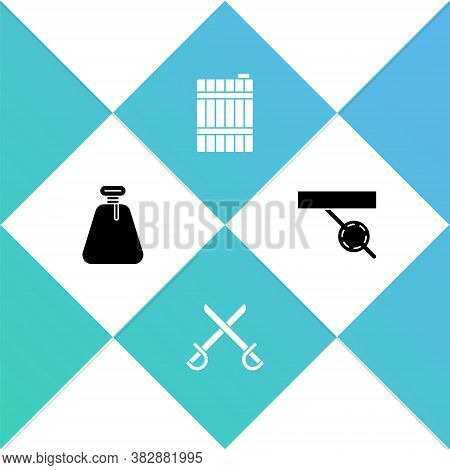 Set Pirate Sack, Crossed Pirate Swords, Wooden Barrel And Eye Patch Icon. Vector