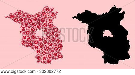 Vector Flu Virus Mosaic And Solid Map Of Brandenburg State. Map Of Brandenburg State Vector Mosaic F