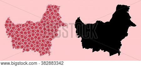 Vector Pandemic Virus Mosaic And Solid Map Of Borneo Island. Map Of Borneo Island Vector Mosaic For