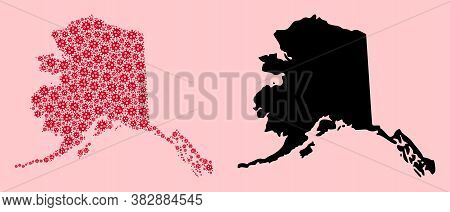 Vector Covid-2019 Virus Mosaic And Solid Map Of Alaska State. Map Of Alaska State Vector Mosaic For