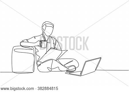 One Continuous Single Line Drawing Of Young Happy Marketing Manager Leaning His Body To Sofa Ottoman
