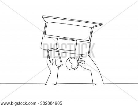 One Single Line Drawing Of Young Happy Business Manager Typing On Smartphone Do Online Shopping Whil