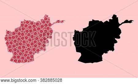 Vector Covid-2019 Virus Mosaic And Solid Map Of Afghanistan. Map Of Afghanistan Vector Mosaic For He