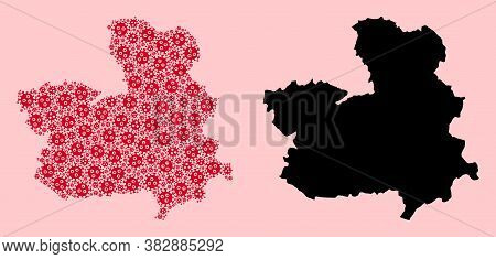 Vector Flu Virus Mosaic And Solid Map Of Castile-la Mancha Province. Map Of Castile-la Mancha Provin