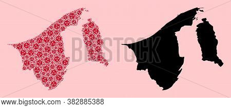 Vector Covid-2019 Virus Mosaic And Solid Map Of Brunei. Map Of Brunei Vector Mosaic For Lockdown Cam