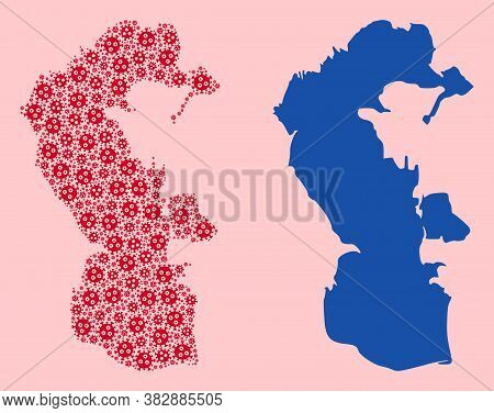 Vector Virus Mosaic And Solid Map Of Caspian Sea. Map Of Caspian Sea Vector Mosaic For Treatment Cam