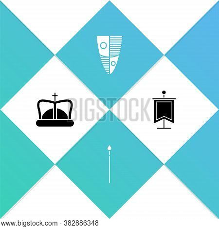 Set King Crown, Medieval Spear, Shield And Flag Icon. Vector