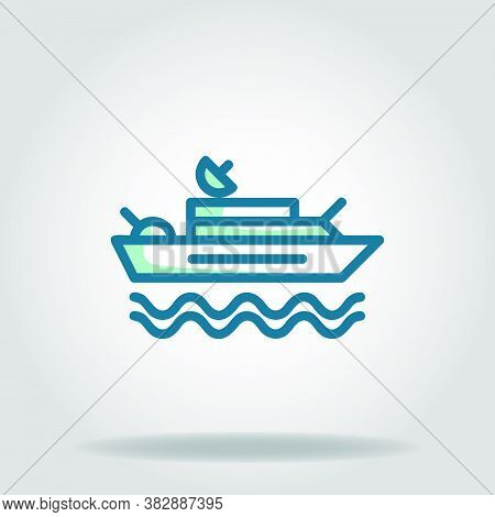 Logo Or Symbol Of Warship Icon With Twotone Blue Color Style
