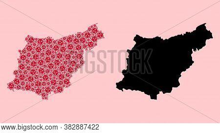 Vector Sars Virus Mosaic And Solid Map Of Gipuzkoa Province. Map Of Gipuzkoa Province Vector Mosaic