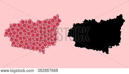 Vector Pandemic Virus Mosaic And Solid Map Of Leon Province. Map Of Leon Province Vector Mosaic For