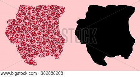 Vector Viral Mosaic And Solid Map Of Suriname. Map Of Suriname Vector Mosaic For Outbreak Campaigns