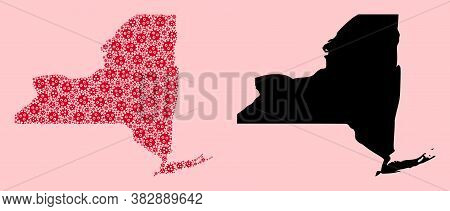 Vector Viral Mosaic And Solid Map Of New York State. Map Of New York State Vector Mosaic For Treatme