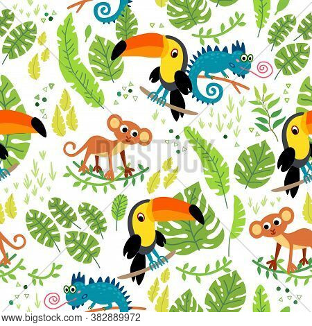 Cute Animal In Jungle Pattern. Illustrations For Children. Baby Kid Tropical Paradise Design. Seamle