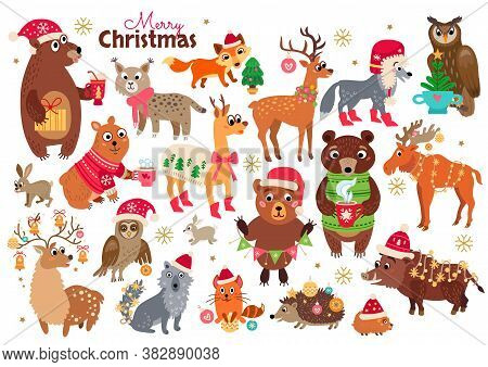Christmas Forest Animals Set In Cartoon Style With Calligraphy And Other Elements. Vector Illustrati