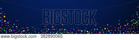Festive Classic Confetti. Celebration Stars. Festive Confetti On Dark Blue Background. Adorable Fest