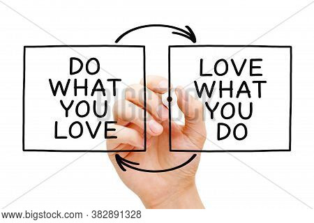 Hand Writing Do What You Love, Love What You Do With Marker On Transparent Wipe Board. Concept About
