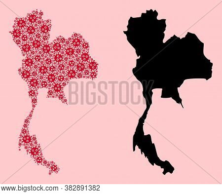 Vector Covid-2019 Virus Mosaic And Solid Map Of Thailand. Map Of Thailand Vector Mosaic For Health C