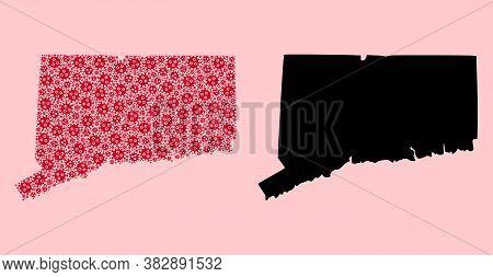 Vector Sars Virus Mosaic And Solid Map Of Connecticut State. Map Of Connecticut State Vector Mosaic