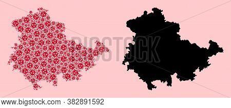 Vector Sars Virus Mosaic And Solid Map Of Thuringia State. Map Of Thuringia State Vector Mosaic For