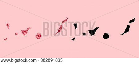 Vector Virus Mosaic And Solid Map Of Canary Islands. Map Of Canary Islands Vector Mosaic For Lockdow