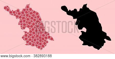 Vector Sars Virus Mosaic And Solid Map Of Jiangsu Province. Map Of Jiangsu Province Vector Mosaic Fo