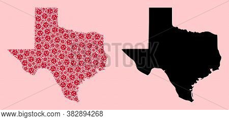 Vector Flu Virus Mosaic And Solid Map Of Texas State. Map Of Texas State Vector Mosaic For Medicine