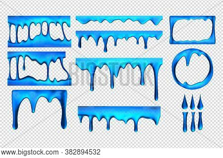 Realistic Blue Slime Drips Set Collection. Collection Of Realism Style Drawn Blots. Illustration Of