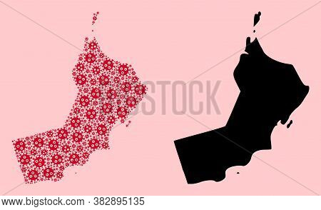 Vector Covid-2019 Virus Mosaic And Solid Map Of Oman. Map Of Oman Vector Mosaic For Doctor Campaigns