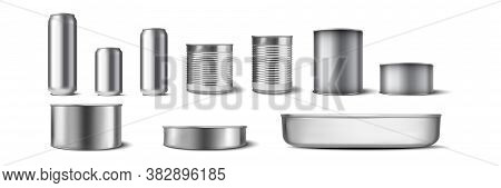 Realistic Aluminium Cans Set. Illustration Of Realism Style Drawn Metal Containers Mockups For Drink