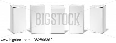 Realistic White Boxes Mockups Set. Collection Of Realism Style Drawn Blank Cosmetics Packages Boxes.