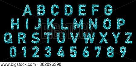 Font Alphabet Of Blue Cyan Confetti. Festive Carnival Letters, Birthday Holiday Abc And Figures. Log