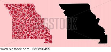 Vector Pandemic Virus Mosaic And Solid Map Of Missouri State. Map Of Missouri State Vector Mosaic Fo