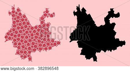 Vector Pandemic Virus Mosaic And Solid Map Of Yunnan Province. Map Of Yunnan Province Vector Mosaic
