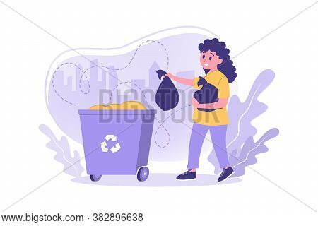 Volunteering, Ecology, Work, Care, Recycling Concept. Illustration Of Young Girl Kid Pupil Volunteer